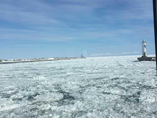 網走の観光で流氷